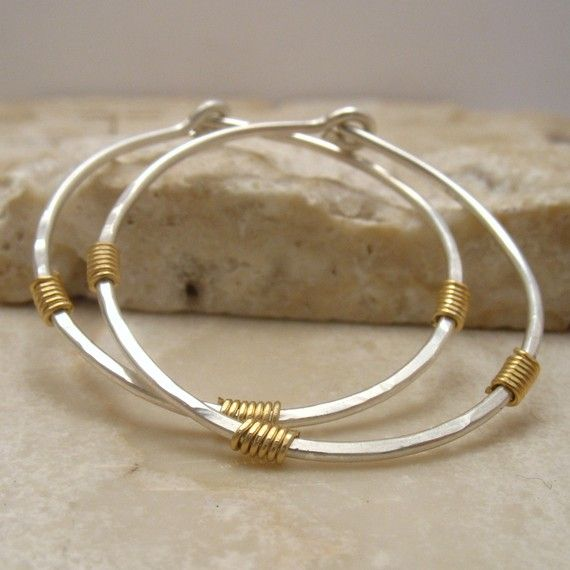 Big Hoop Earrings Sterling Silver Hammered with by MysticMoons