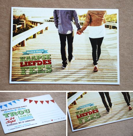 Lynette and Kobus' picture perfect postcard invitation Seven Swans Wedding Stationery