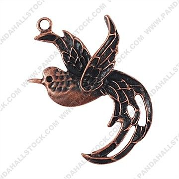 Tibetan Style Pendants, Lead Free, Bird, Red Copper
