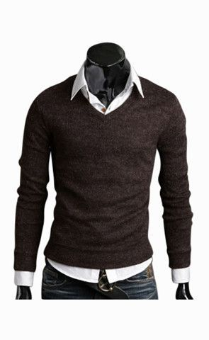 Slim Fit Brown V-Neck Sweater | Snug fit, Plain black and Snug