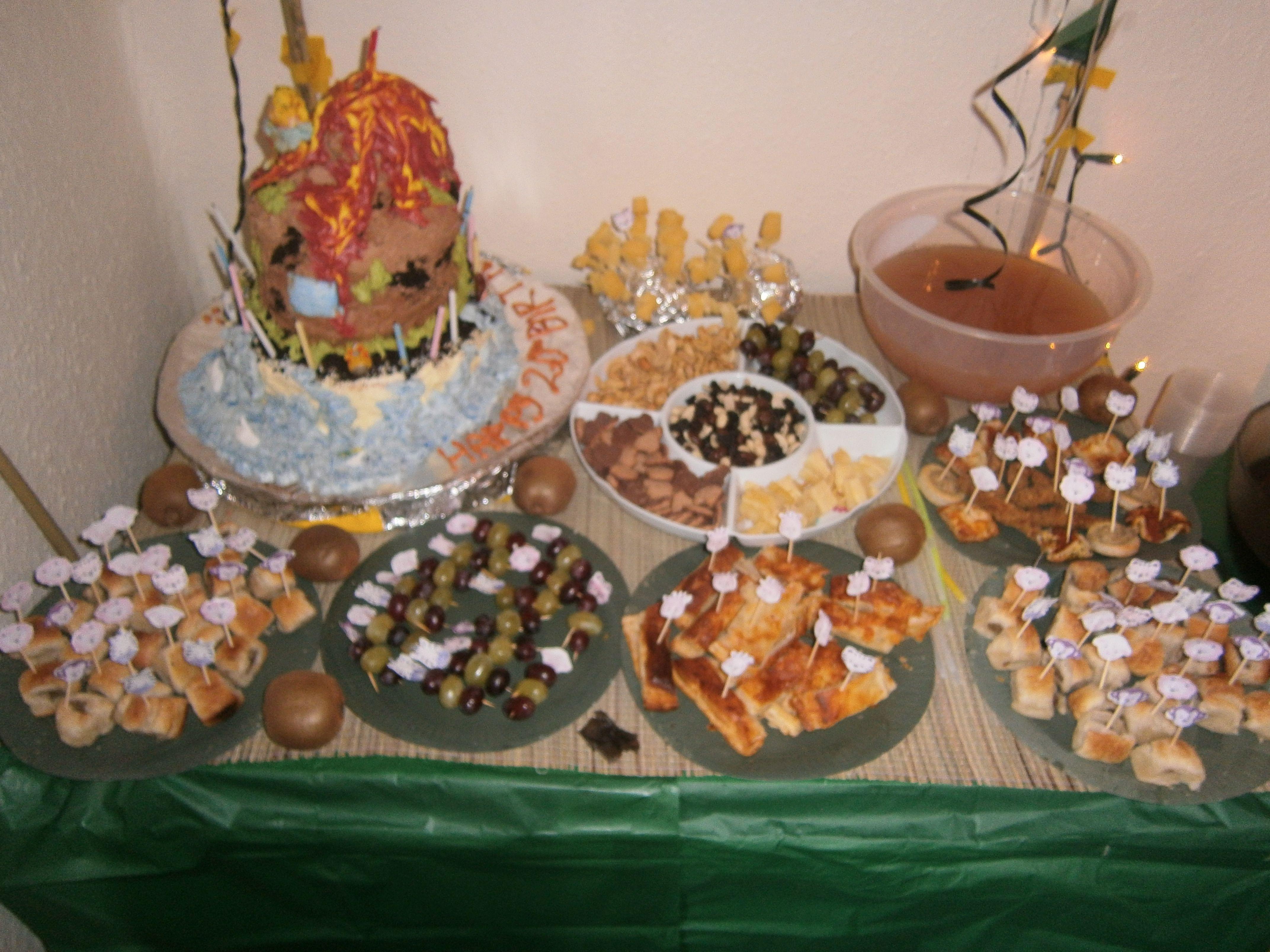 Volcano cake and jungle theme food we had a New ZealandJungle
