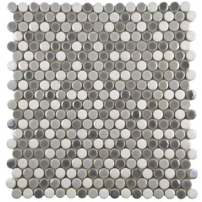 Merola Tile Galaxy Penny Round Luna 11 3 4 In X 8 Mm Porcelain Mosaic Wshgprlu The Home Depot