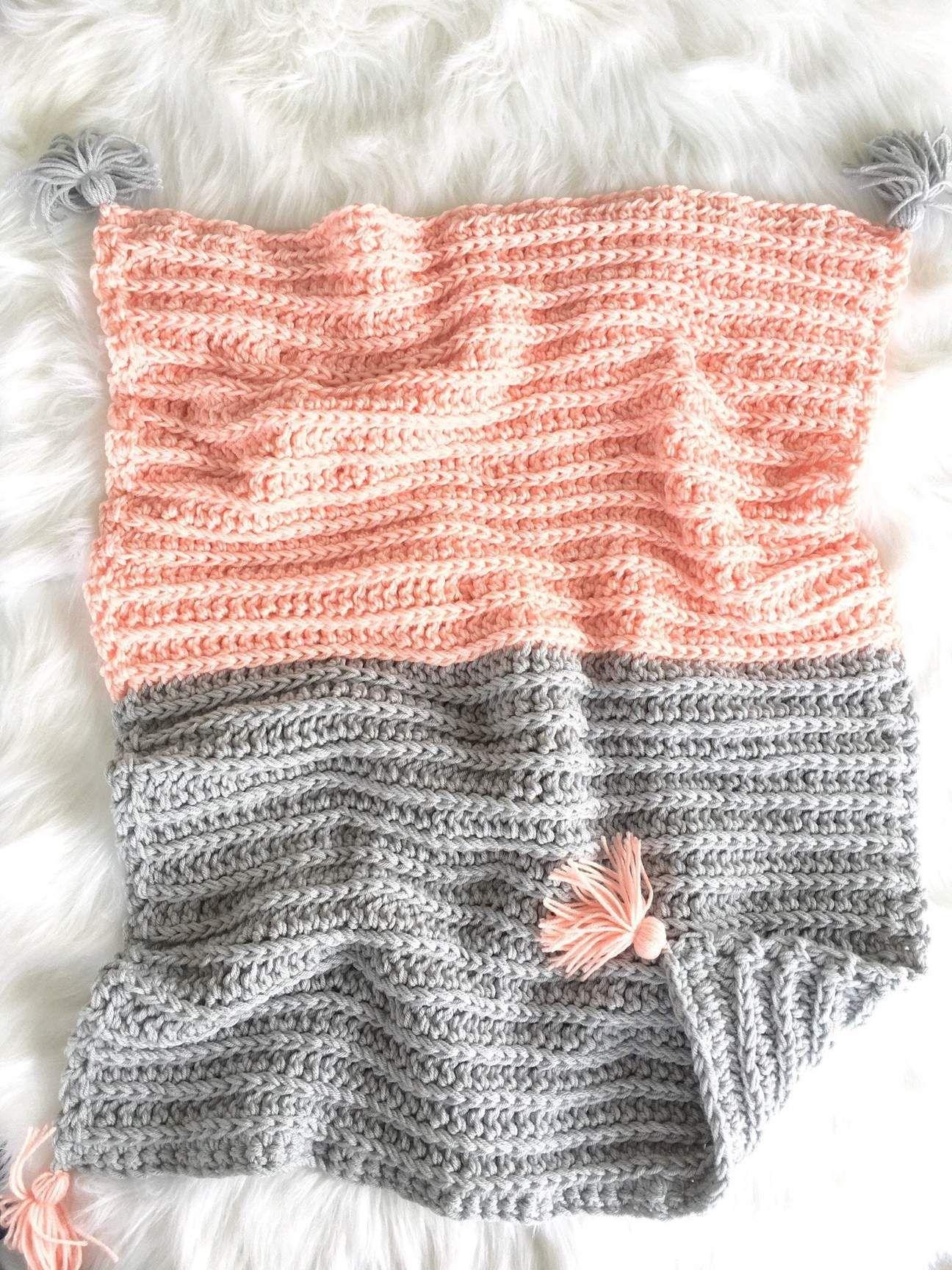 Photo of Crochet Boho Baby Girl Blanket in Pink and Grey