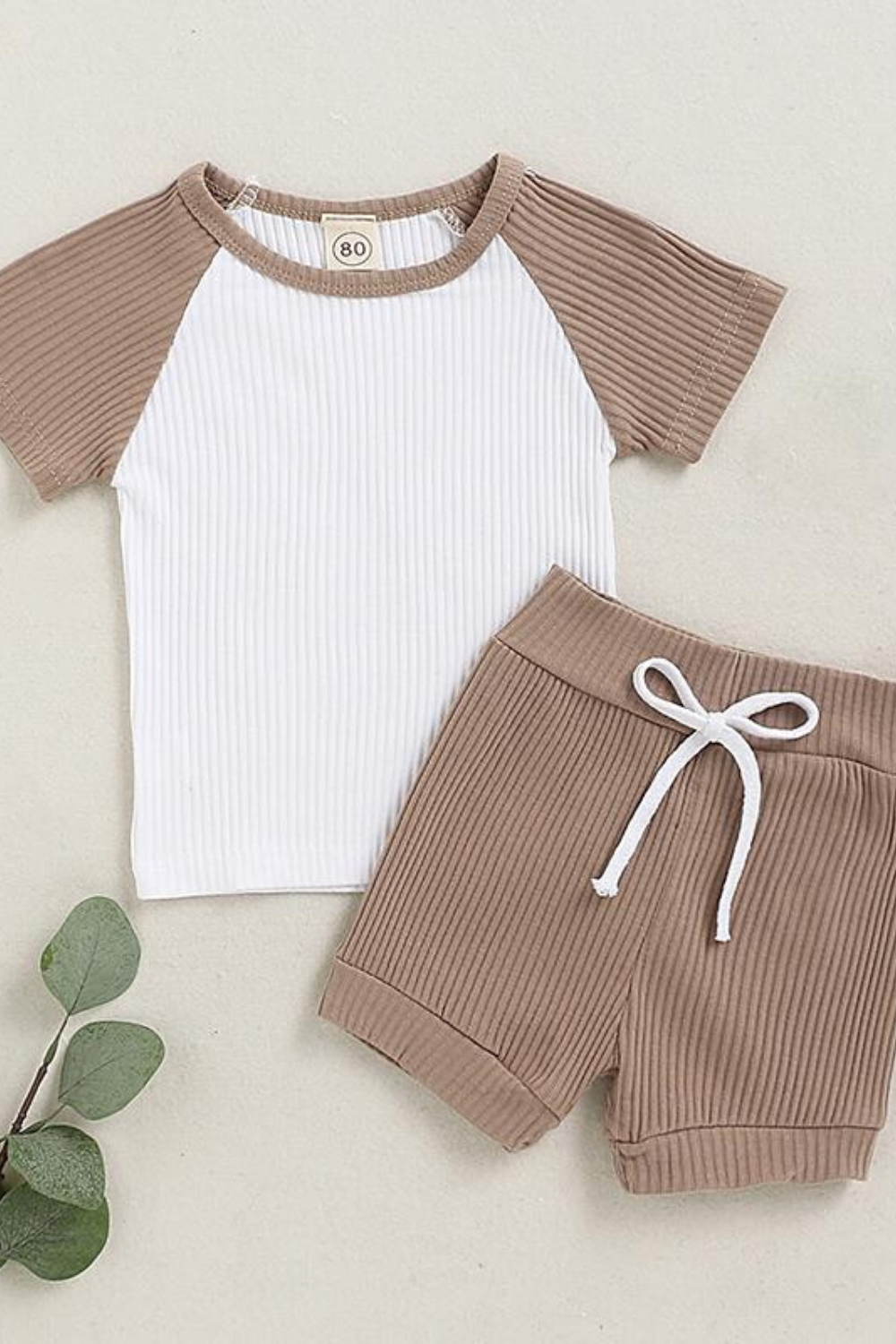Baby Boy Girls Ribbed Romper Top Striped T-Shirt Pant Long Sleeve Pajamas Outfit