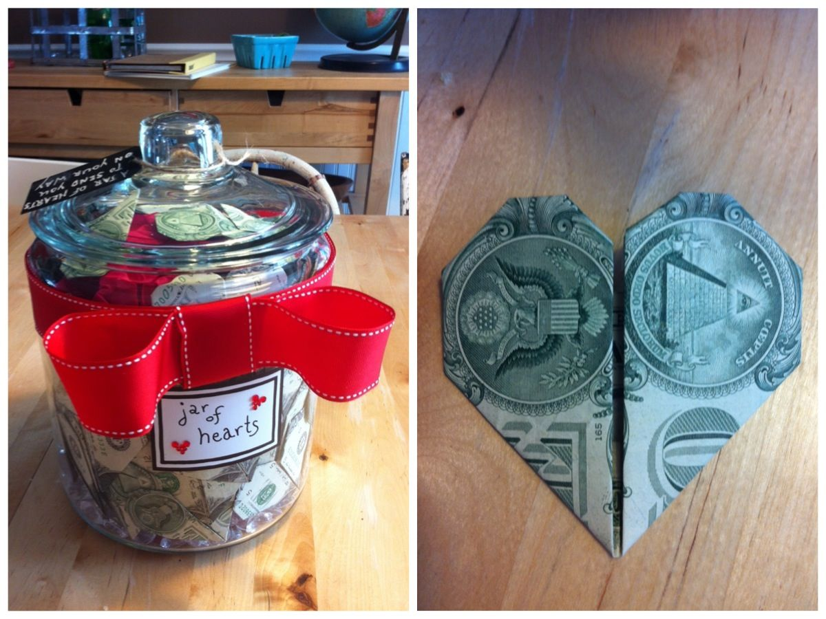 A Unique Wedding Gift Jar Full Of Money Folded Into Origami Hearts The Tag Read To Send You On Your Way Or Just Save For