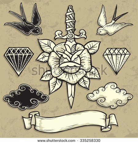 Old School Rose And Dagger Tattoo Art Design New Traditional Tattoo Style Hand Drawn Vector Images Good F Old School Rose Old School Tattoo Rose And Dagger