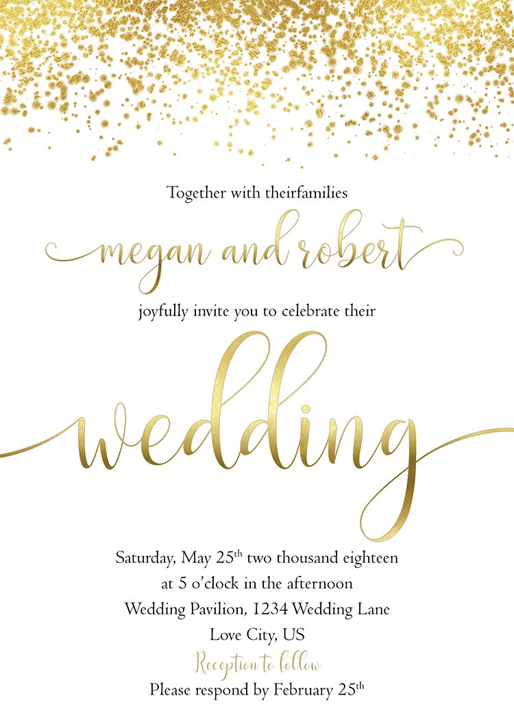 Gold wedding invitation, white and gold wedding invite set ...