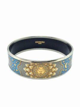 Hermes Wide Printed Enamel Sun Moon Stars Bracelet 65