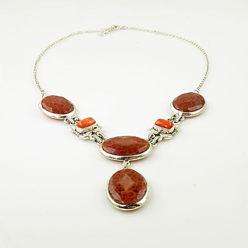 Genuine Coral & Spiderweb Carnelian Necklace. Starting at $1 on Tophatter.com!