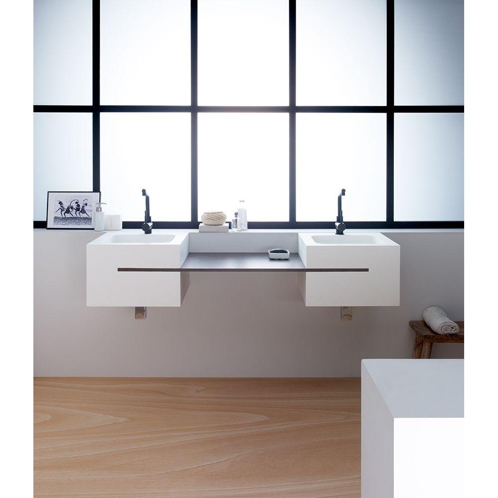 Ssf 073 60 double lavabo avec comptoir en bois - Double evier salle de bain ...