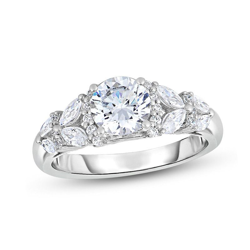 1 3 4 Ct T W Diamond Engagement Ring In 14k White Gold Zales Diamond Engagement Jewelry Rings Diamond Wedding Ring Bands