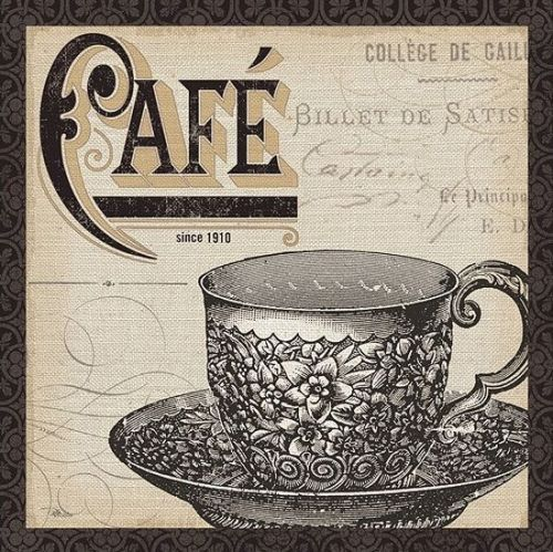 Pela-Studio-Antique-Cafe-II-Keilrahmen-Bild-Leinwand-Kaffee-Kueche-Tasse-Deko