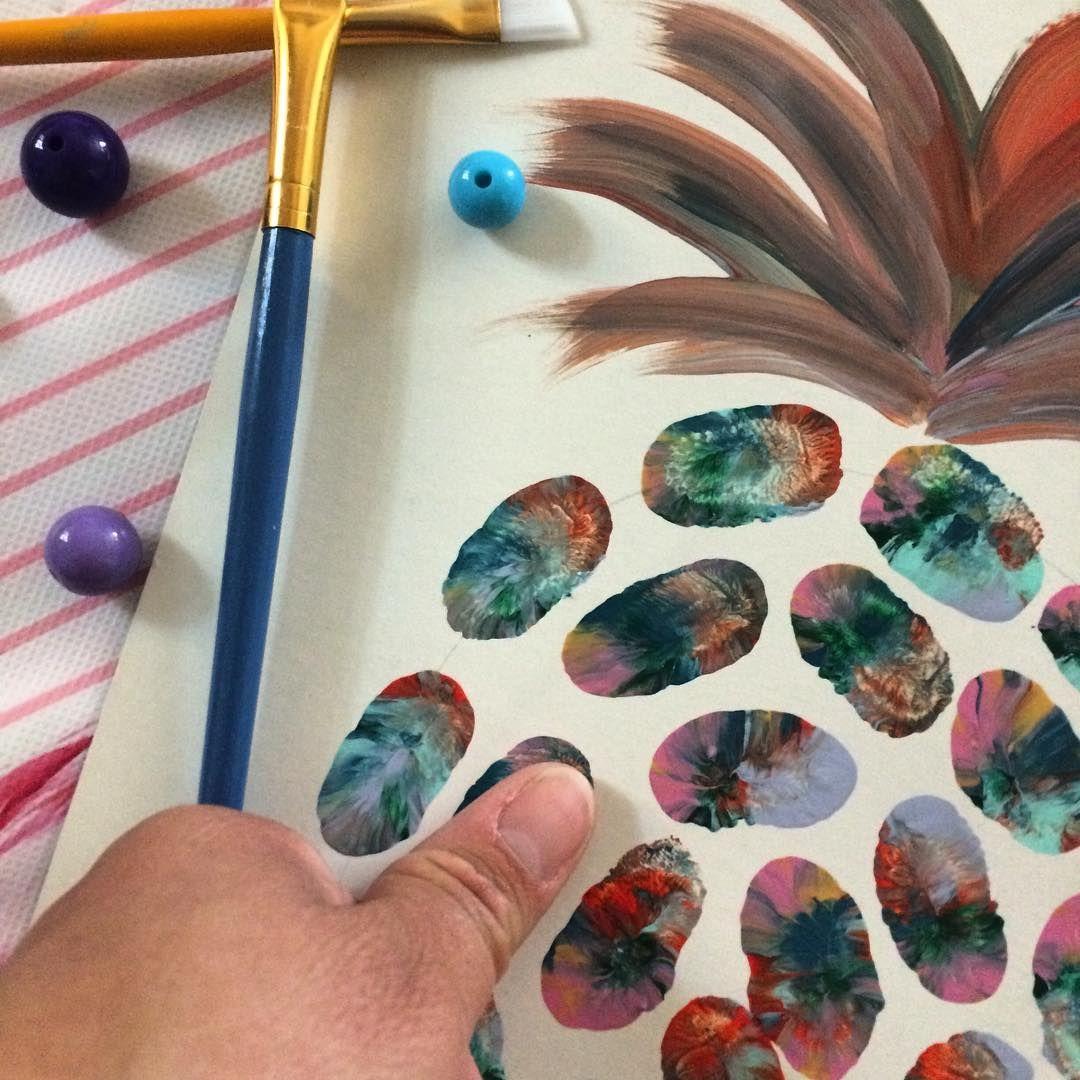 Making thumbprint pineapple 🍍 art for a tiki-tropical birthday party 🎂 #pineappleexpress #kidsartwork #kidbirthday #diypartyplanner #dazzlewhilefrazzled