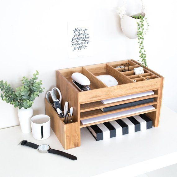 Photo of Wood Office Desk Organiser & Accessories   Bamboo Office Supplies Storage Caddy   Docking  Station   Desk Tidy
