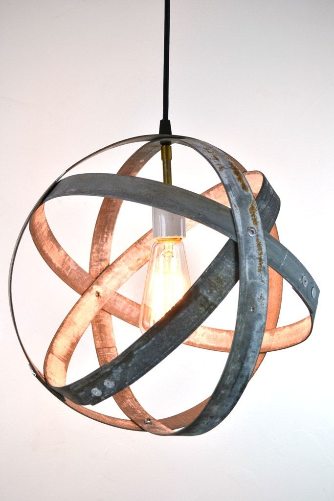Wine Barrel Ring Pendant Light Atom Made From Salvaged California Wine Barrel Rings 100 Recycled And Free Shipping Us Only Wine Barrel Rings Barrel Rings Wine Barrel