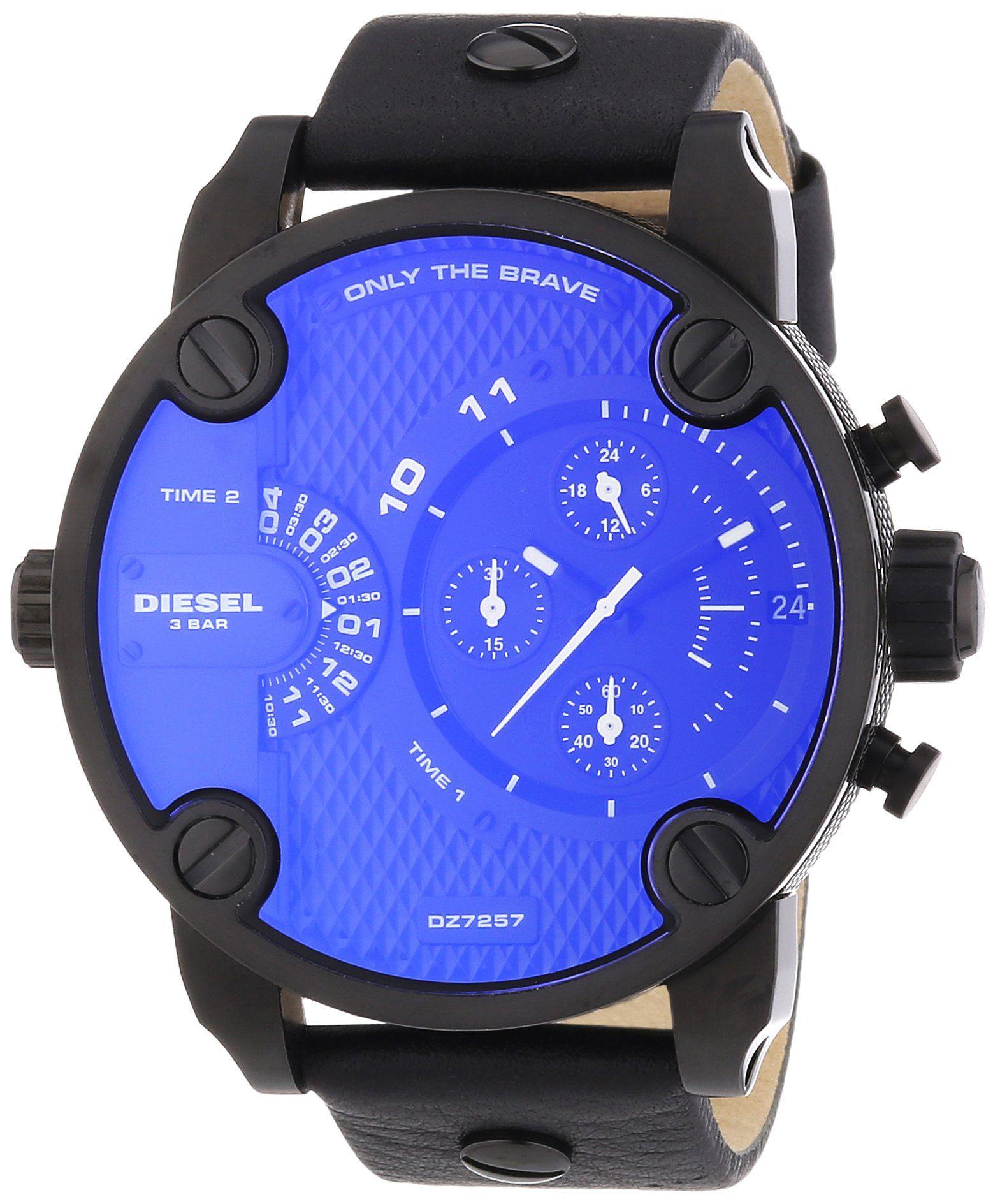 Amazon Com Diesel Dz7257 Sba Oversize Chrono Black Pyramid Texture Dial Black Leather Strap Men Watch New Diesel Watches Uhren Herren Diesel Uhr Uhren