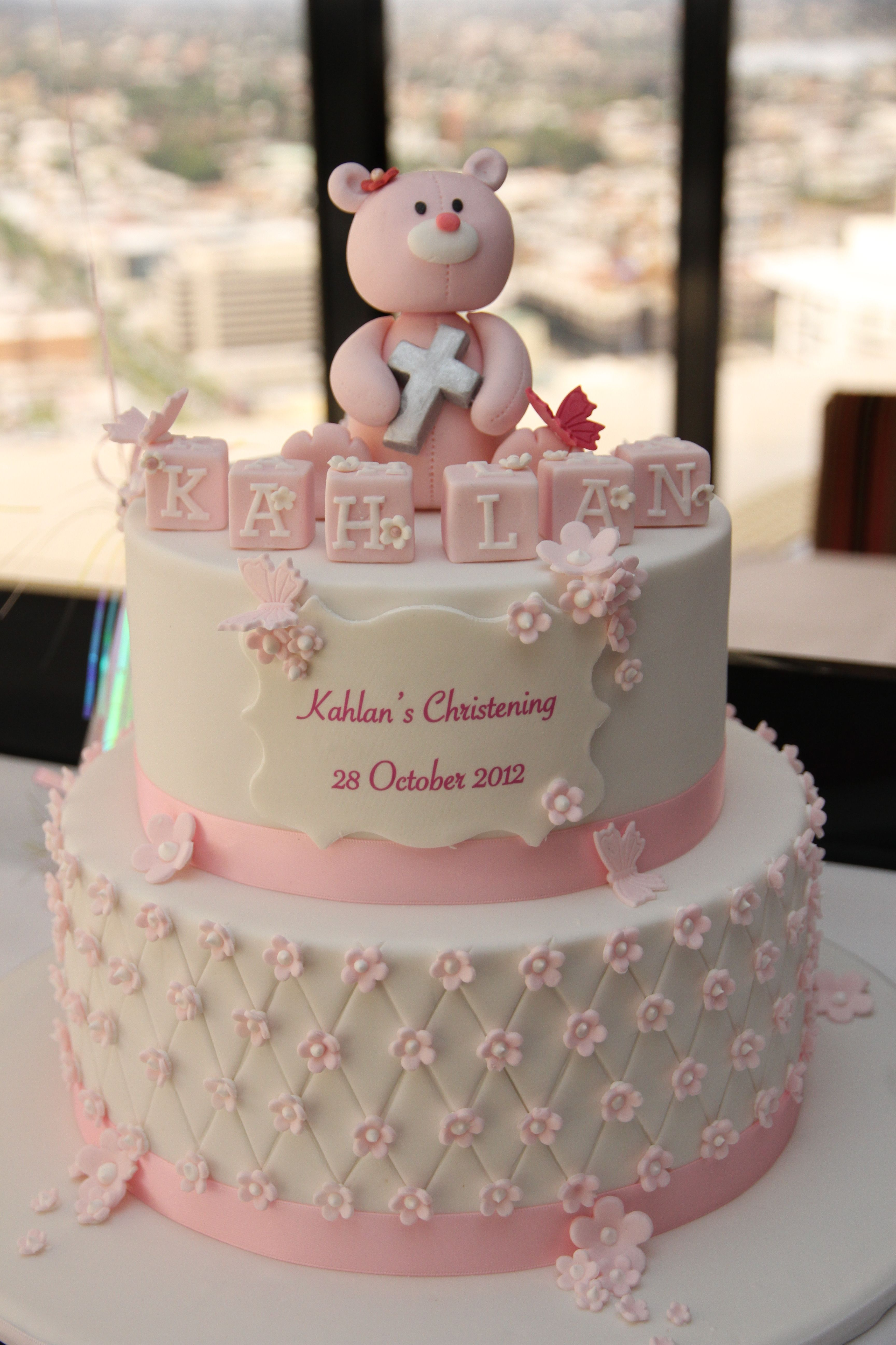 A cute Christening cake for a delightful baby girl Special