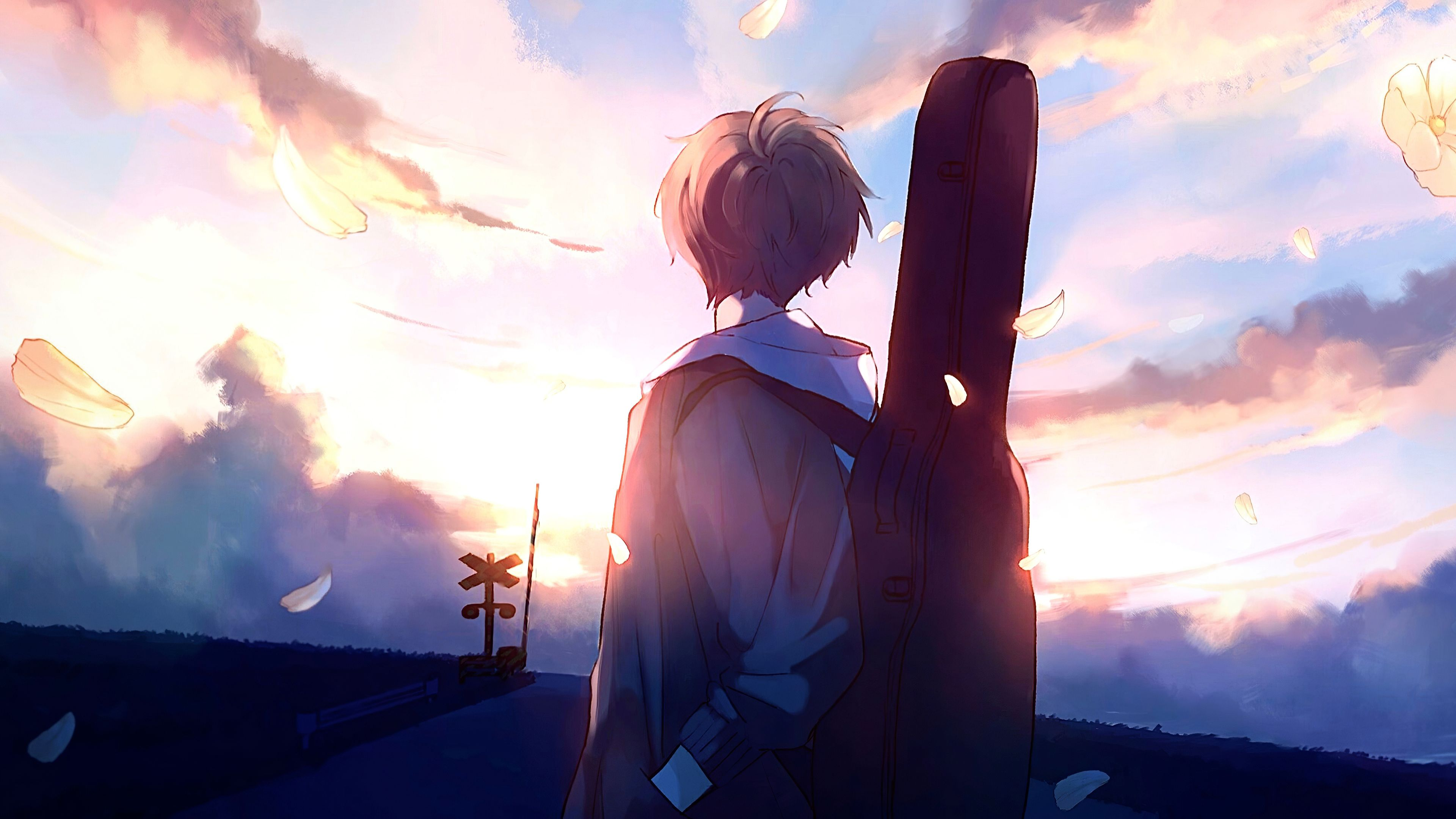 Anime Boy Guitar Painting Anime Animation Background Anime Boy