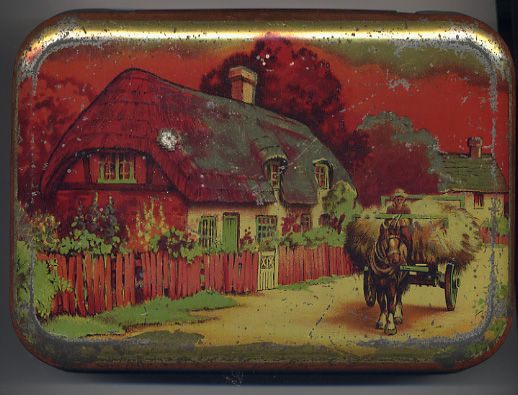 Archetypal thatched cottage on a Blue Bird toffee tin: 'Take the Home Sweet Home'