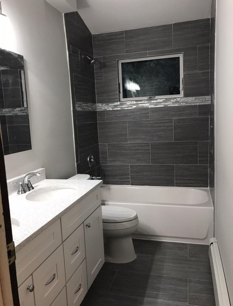 Modern bathroom remodel with white sparkling quartz
