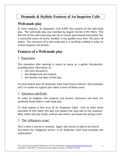 An Inspector Calls By J B Priestley Worksheets And Tasks Ks4