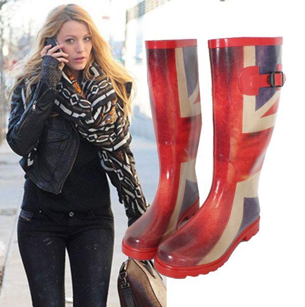women british style torx flag riding boots rain boots rainboots ...