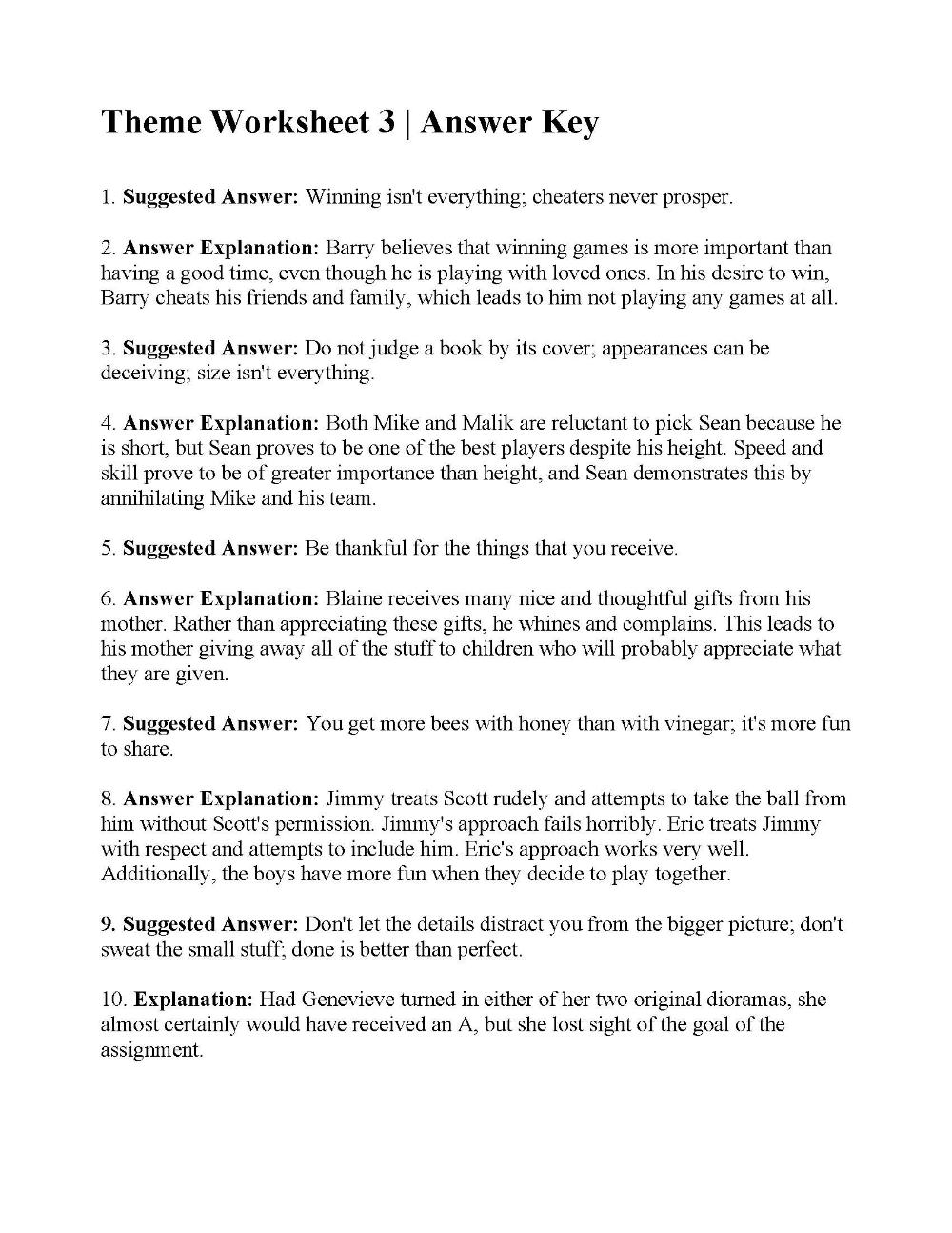 Theme Worksheet 3 | Answers | desktop | Worksheets, Reading ...