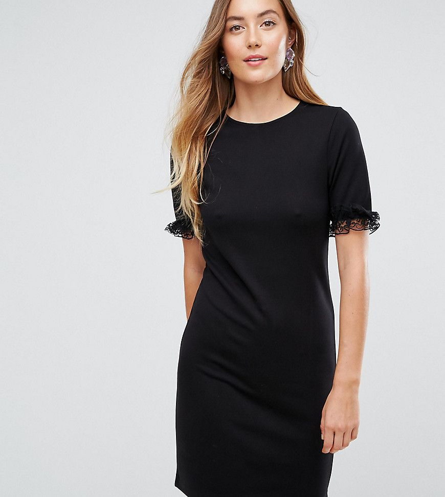 Asos tall tshirt dress in ponte with lace frill sleeve black