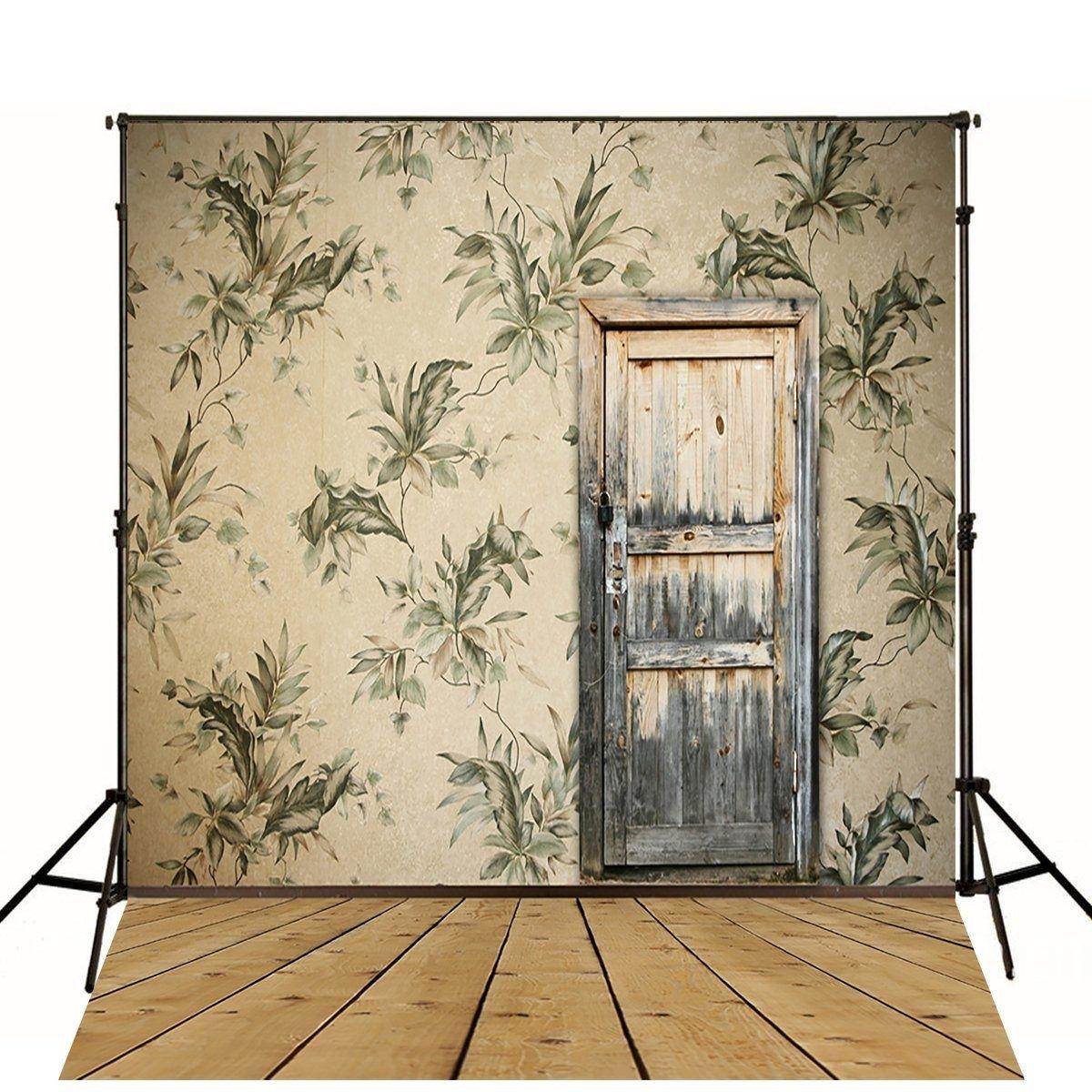 Photo of Fotografi Bakgrunn Vintage grå tre dør foto gulv