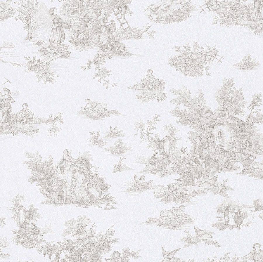 Fesselnd Petite Fleur 285108 Tapete Papier Weiß Beige Braun Landhaus Toile De Jouy