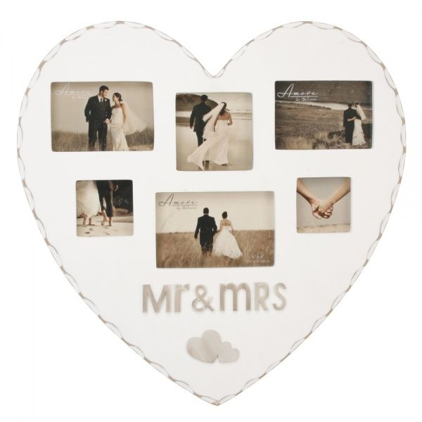 amore heart shaped mr mrs frame - Mr And Mrs Photo Frame