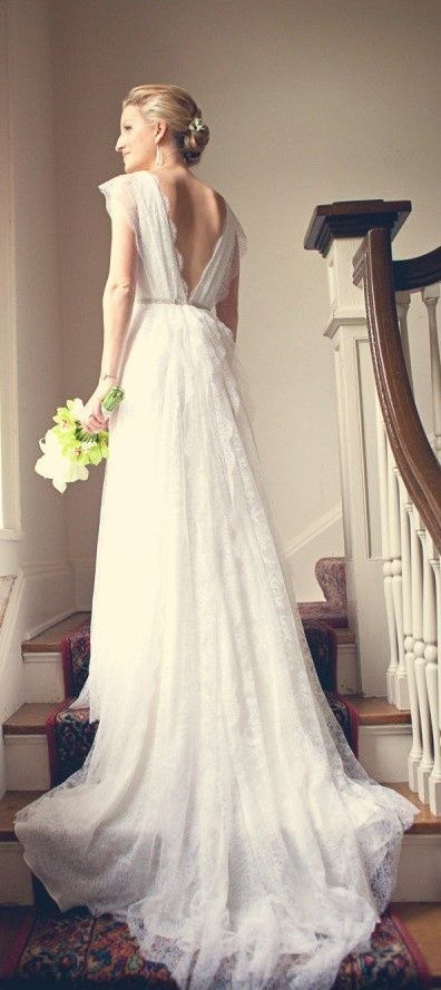 Simple lace wedding dress ...low v-neck back, vintage, classic style ...