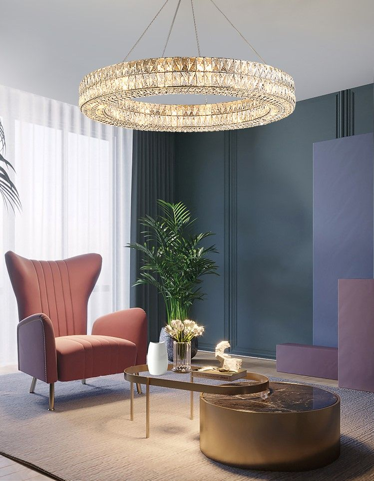 Luxury Style One Ring Crystal Chandelier Living Room Chandelier In Living Room Crystal Chandelier Living Room Living Room Lighting