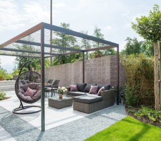 pavillion garten Terrasse mit Pavilion #terrassengestaltung #loungembel #pavillion #terrasse #wiese #steinboden