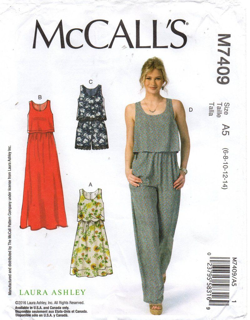 6896610cd79b McCall s 7409 LAURA ASHLEY Womens Dress Rompers or Jumpsuit with Bodice  Overlay Sewing Pattern Size 6