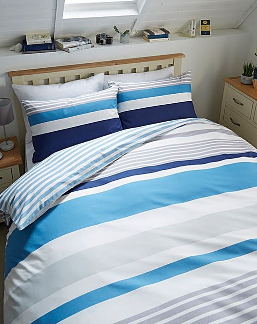 this great value ethan striped duvet set will instantly update the look of any bedroom a versatile multitonal stripe design is printed onto a durable and