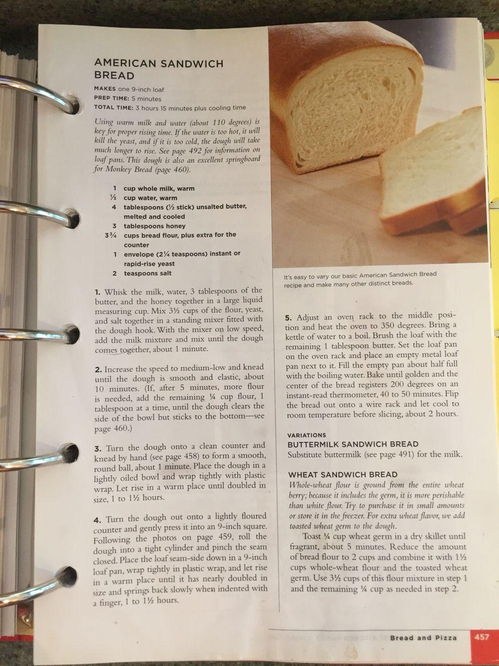 Test Kitchen Sandwich Bread Recipe