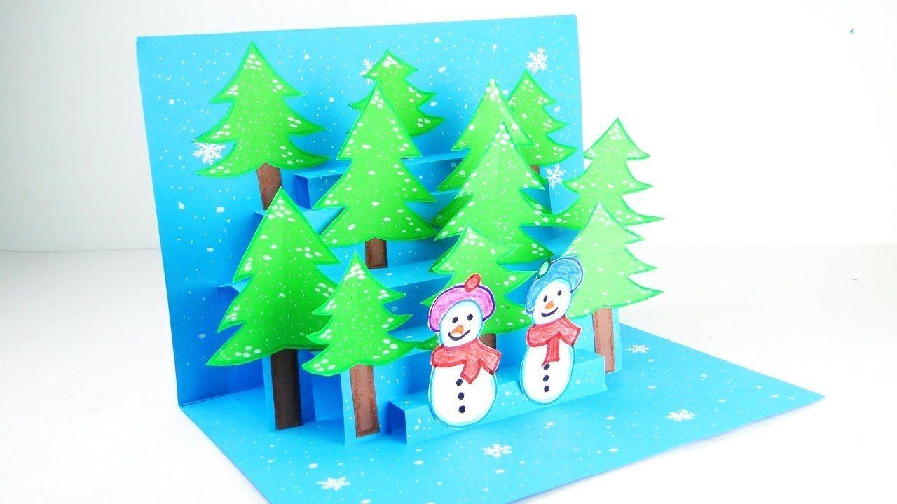 3d Christmas Pop Up Card Christmas Pop Up Greeting Card Tutorial Easy Diy Pop Up Christmas Cards Christmas Card Tutorials Diy Pop Up Cards