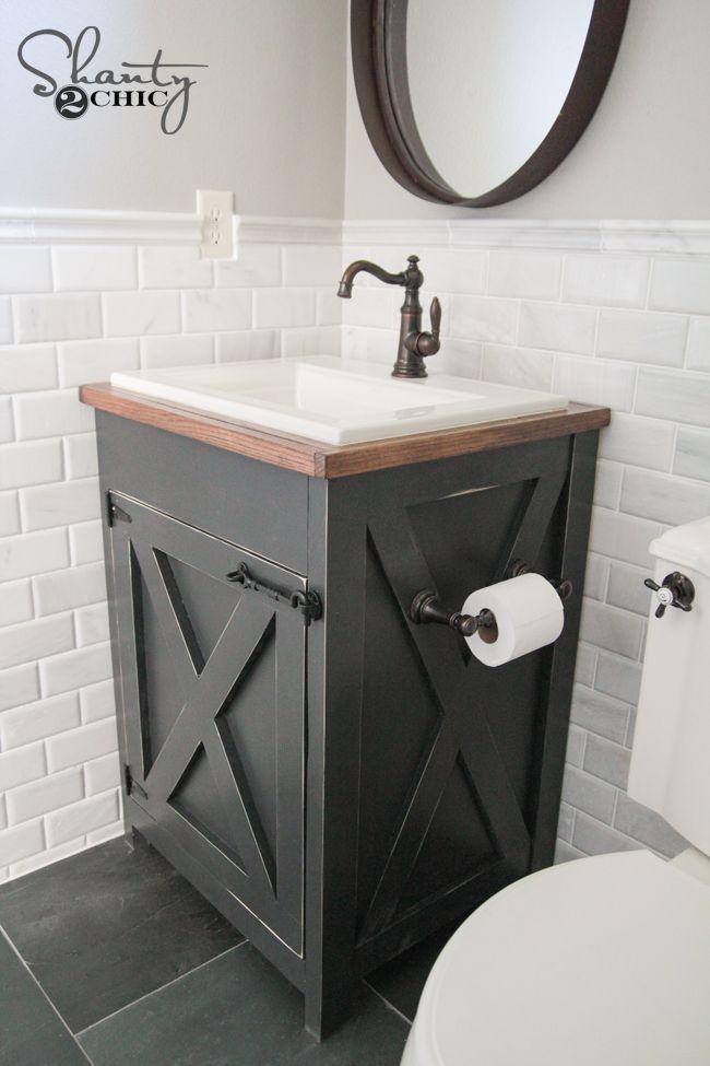 DIY Farmhouse Bathroom Vanity | Relooking salle de bain ...