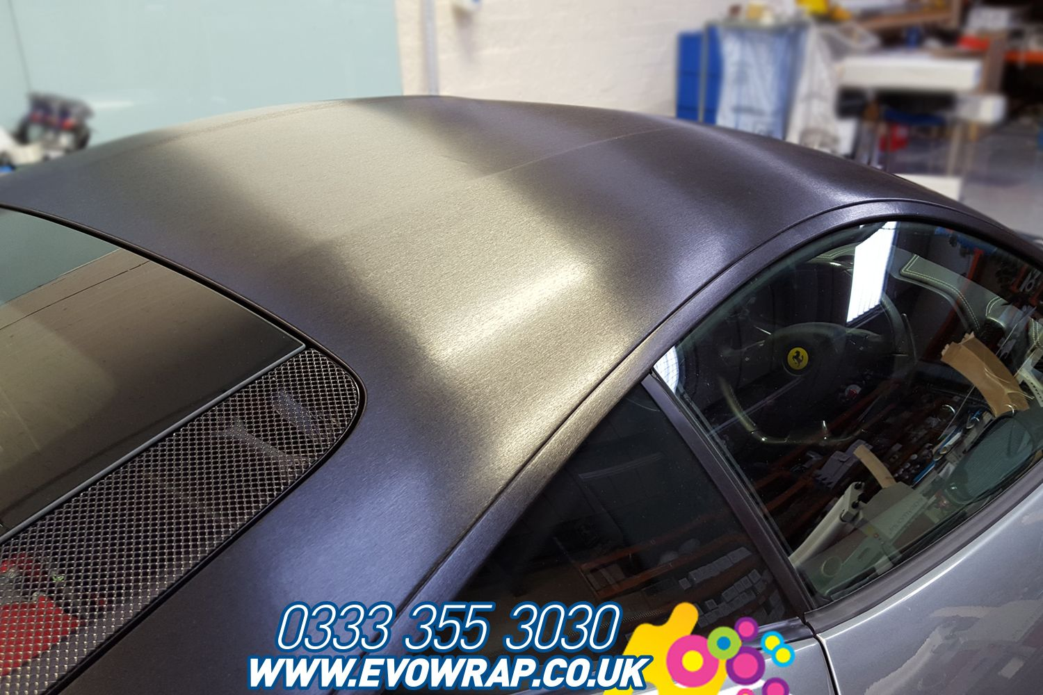 3m Brushed Black Metallic Installed Onto The Roof Of A Ferrari