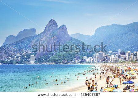 Rio de Janeiro, Brazil - February 5, 2016: View of Ipanema beach and Morro Dois Irmaos (Two Brothers Mountain) in Rio de Janeiro, Brazil.