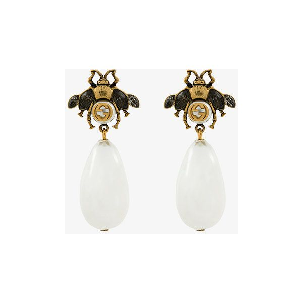 fdc214638af Gucci bee drop faux pearl earrings (6.425 ARS) ❤ liked on Polyvore  featuring jewelry