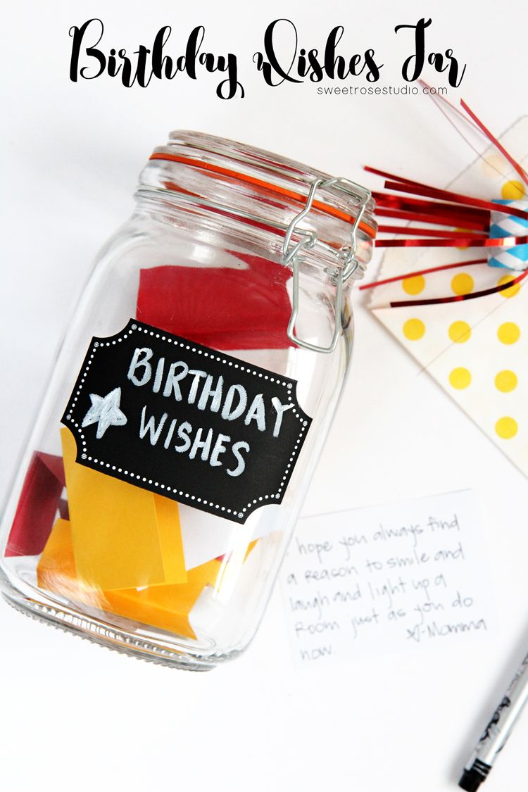 Birthday Wishes Jar Sweet Rose Studio 30th Birthday Wishes Birthday Keepsakes Happy Birthday Crafts