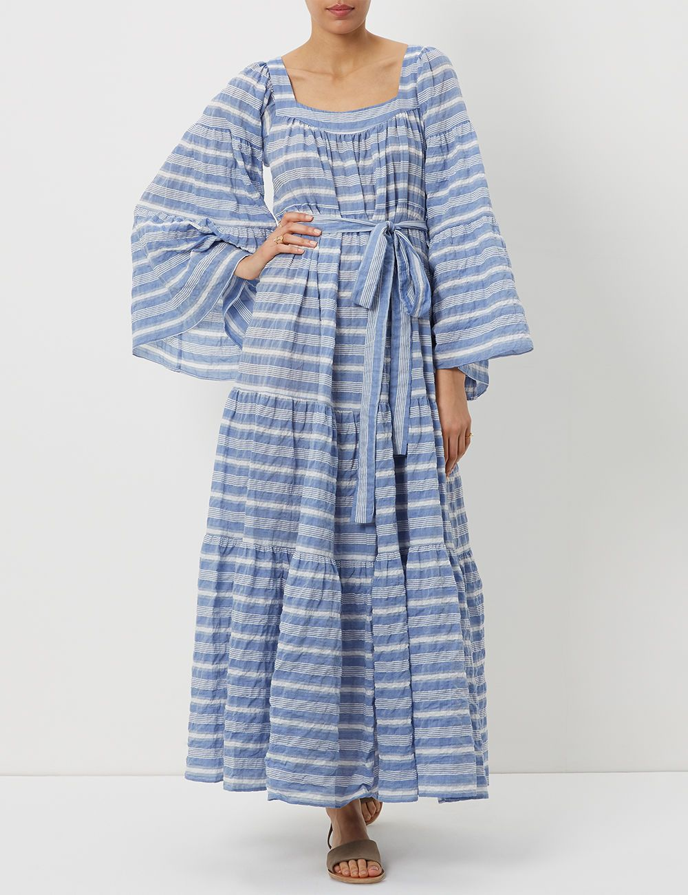 Striped cotton peasant dress Lisa Marie Fernandez X6Odo2dTMQ