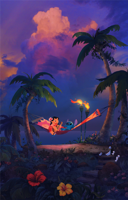 Island Lullaby Lilo and Stitch Giclee on Canvas by William Silvers