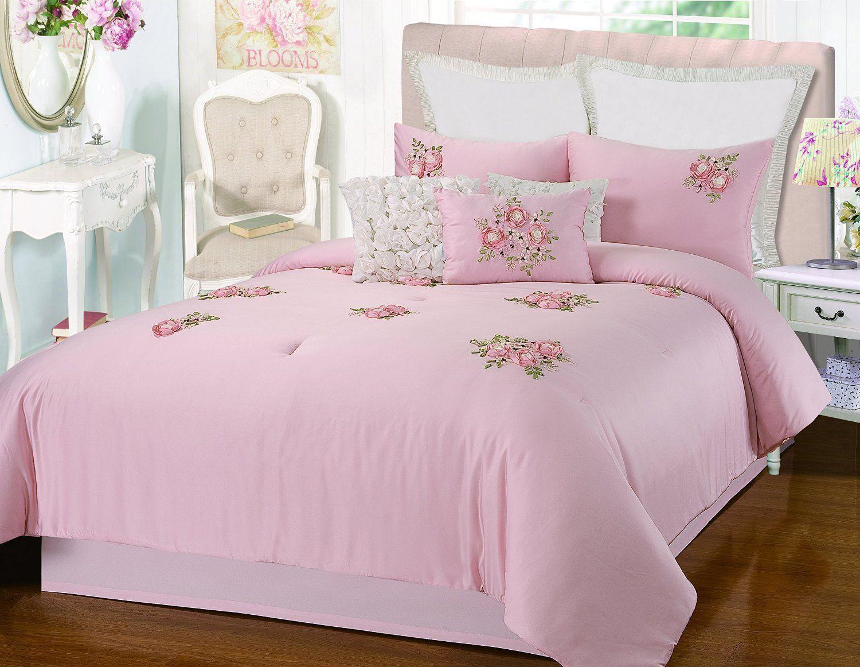 Rosetta Floral Bouquet Applique Pink 5 Piece Embroidery