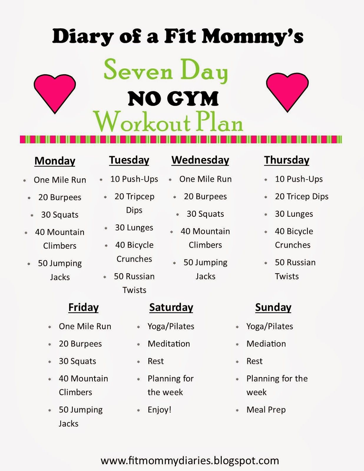 Diary Of A Fit Mommy S 7 Day No Gym Workout Plan Diary Of