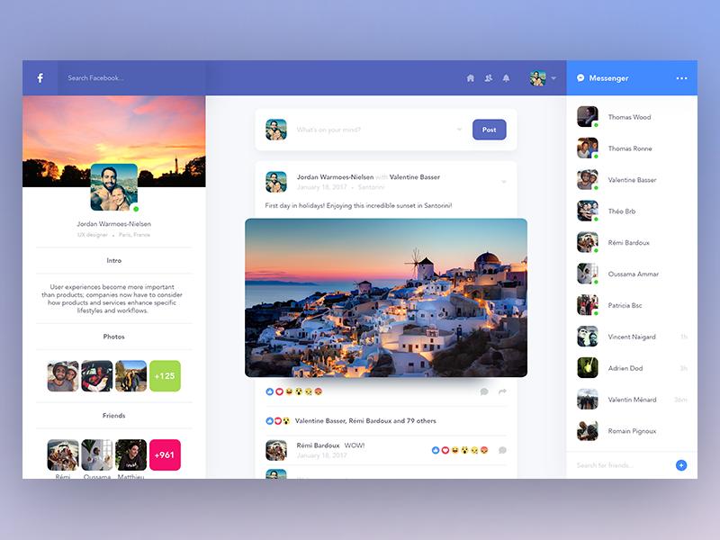 Facebook profile redesign Web design, Page design