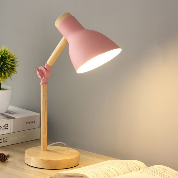 Domed Metal Rotatable Desk Light Modernist 1 Head Pink And Wood Reading Lamp For Study Room Study Lamps Pink Desk Lamps Desk Lamps Bedroom