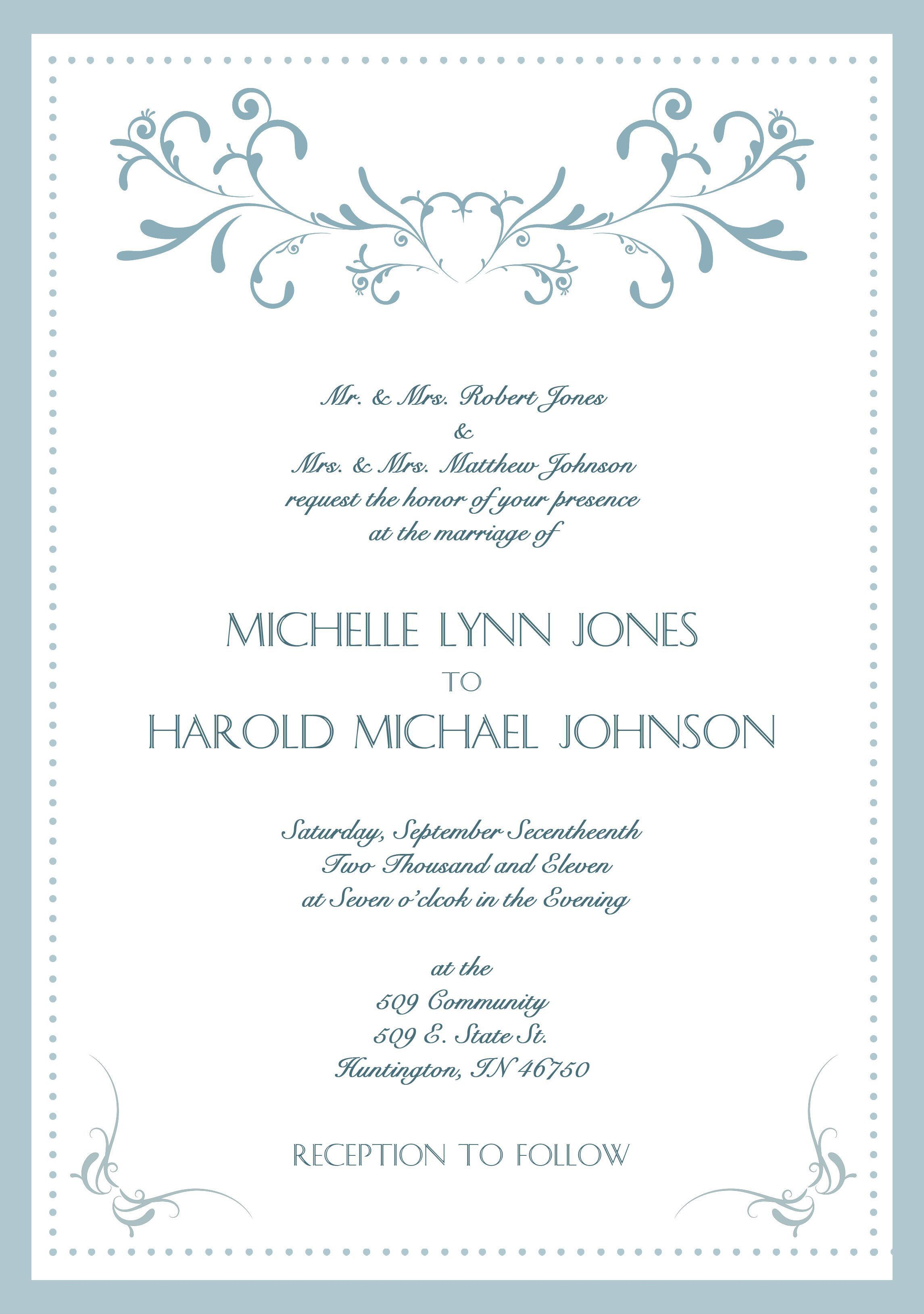 Samples Of Wedding Invitations Cards Wording Invitation Photo